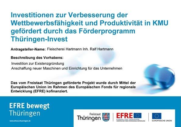 Investitionen zur Verbesserung der Wettbewerbsfähigkeit und Produktivität in KMU gefördert durch das Förderprogramm Thüringen-Invest